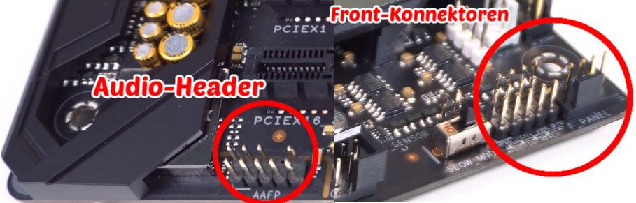 audio-header und fp konnektoren